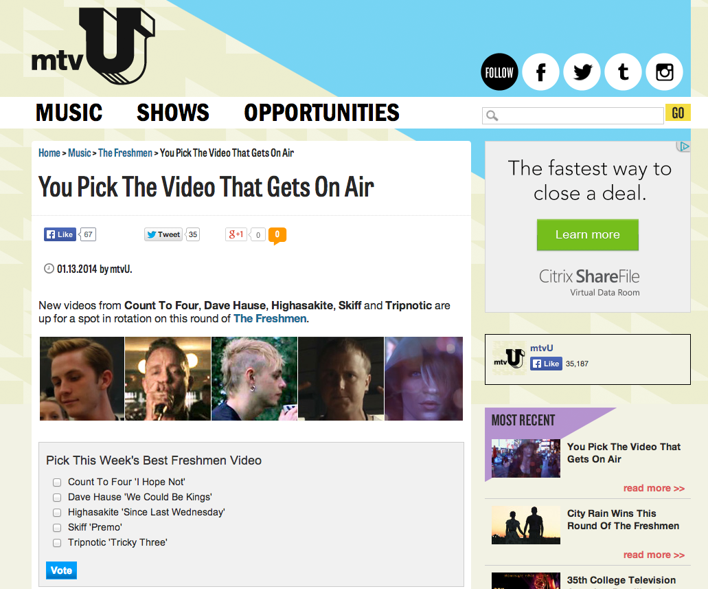 """Vote for Dave Hause's """"We Could Be Kings"""" on mtvU's Freshmen"""
